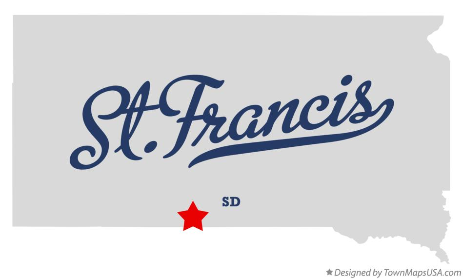 Map of St.Francis South Dakota SD