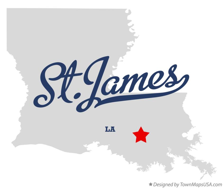 Map of St.James Louisiana LA