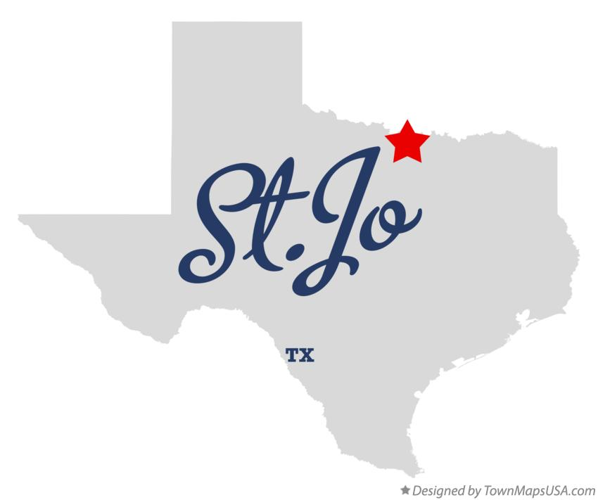 Map of St.Jo Texas TX