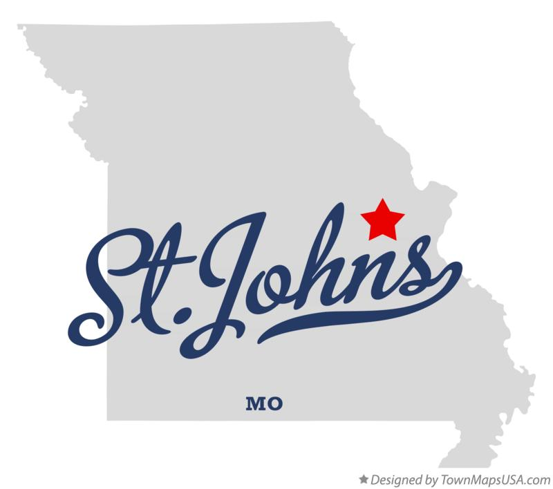 Map of St.Johns Missouri MO