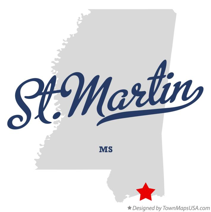 Map of St.Martin Mississippi MS
