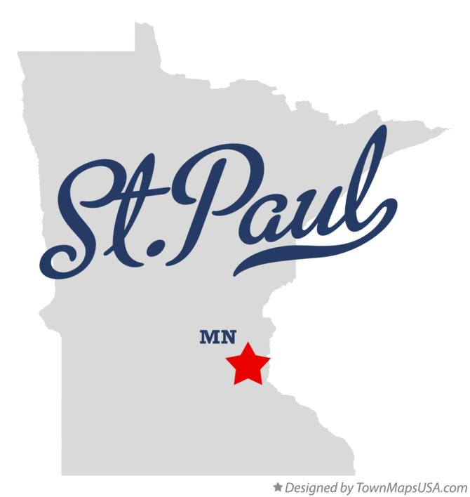 Map of St.Paul, MN, Minnesota