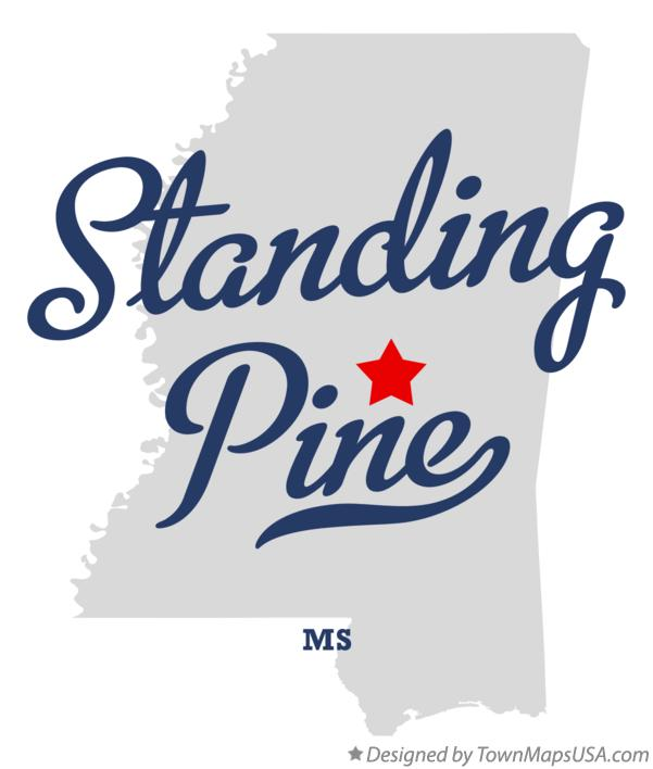 Map of Standing Pine Mississippi MS