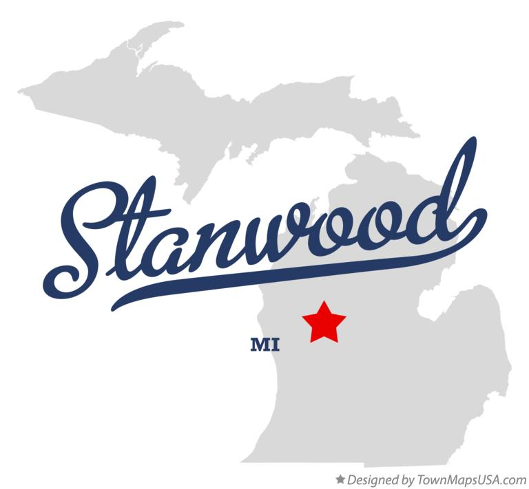 Map of Stanwood Michigan MI