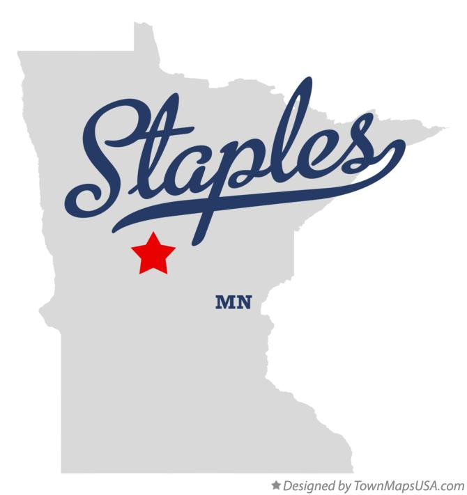 Map of Staples Minnesota MN