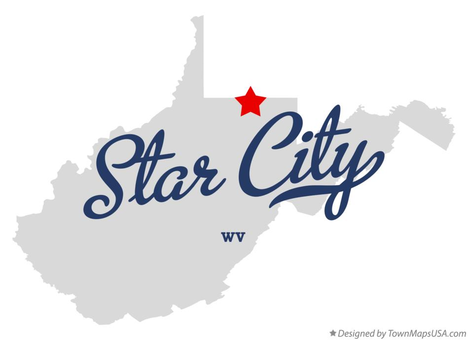 Map of Star City West Virginia WV