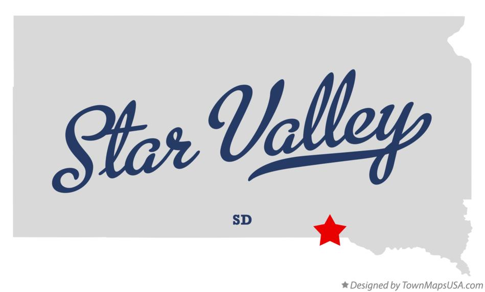 Map of Star Valley South Dakota SD