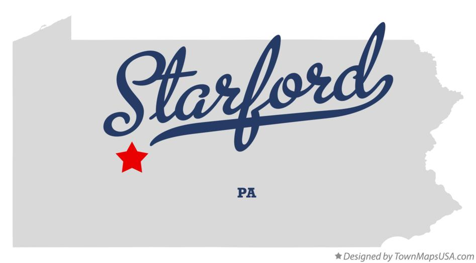 Map of Starford Pennsylvania PA