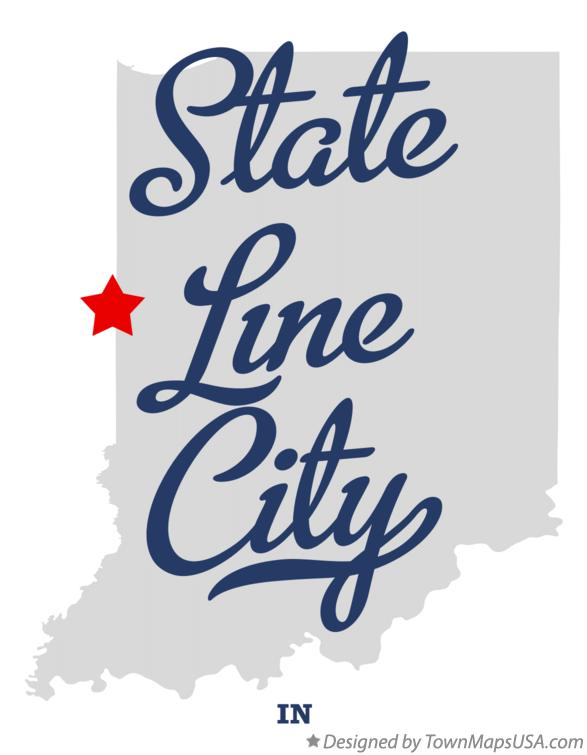 Map of State Line City Indiana IN