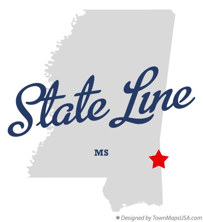Map of State Line Mississippi MS