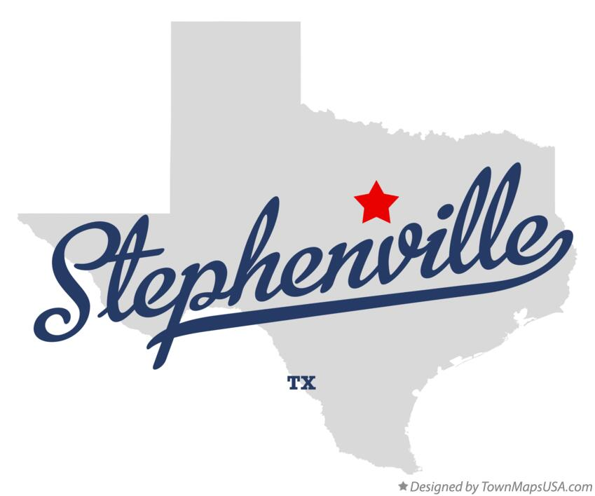 Map of Stephenville Texas TX