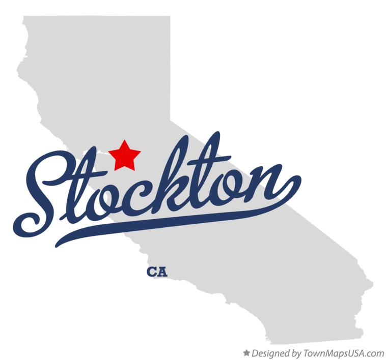 Stockton California CA Map professionally designed by GreatCitees.com.
