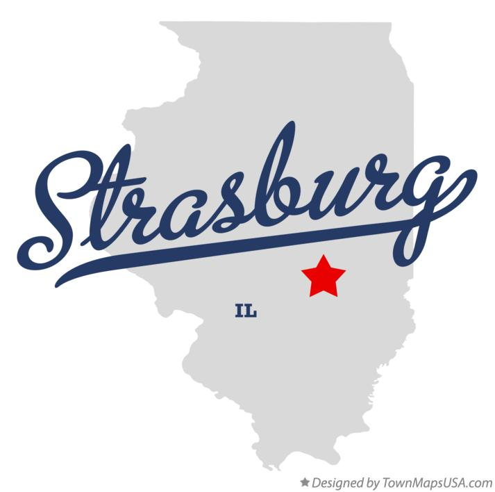 Map of Strasburg Illinois IL
