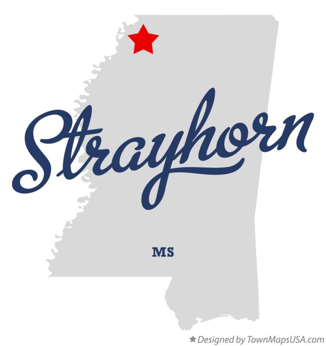 Map of Strayhorn Mississippi MS