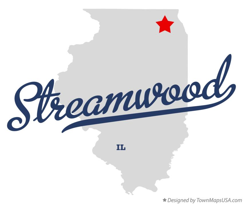 Map of Streamwood Illinois IL