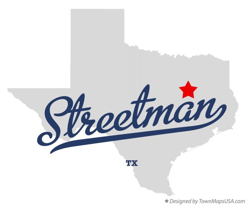Map of Streetman Texas TX