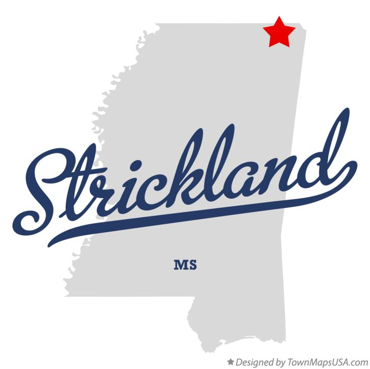 Map of Strickland Mississippi MS