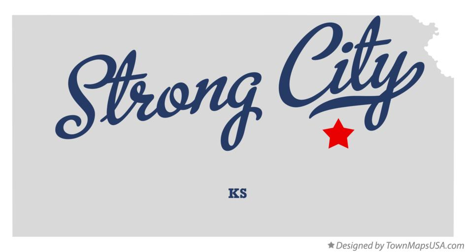 Map of Strong City Kansas KS