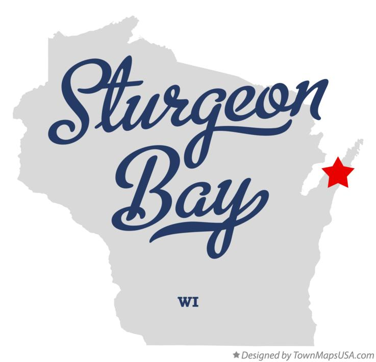 Map of Sturgeon Bay Wisconsin WI