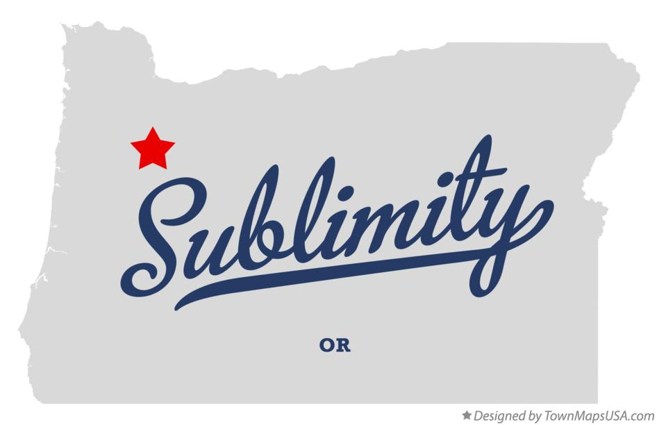 Map of Sublimity Oregon OR