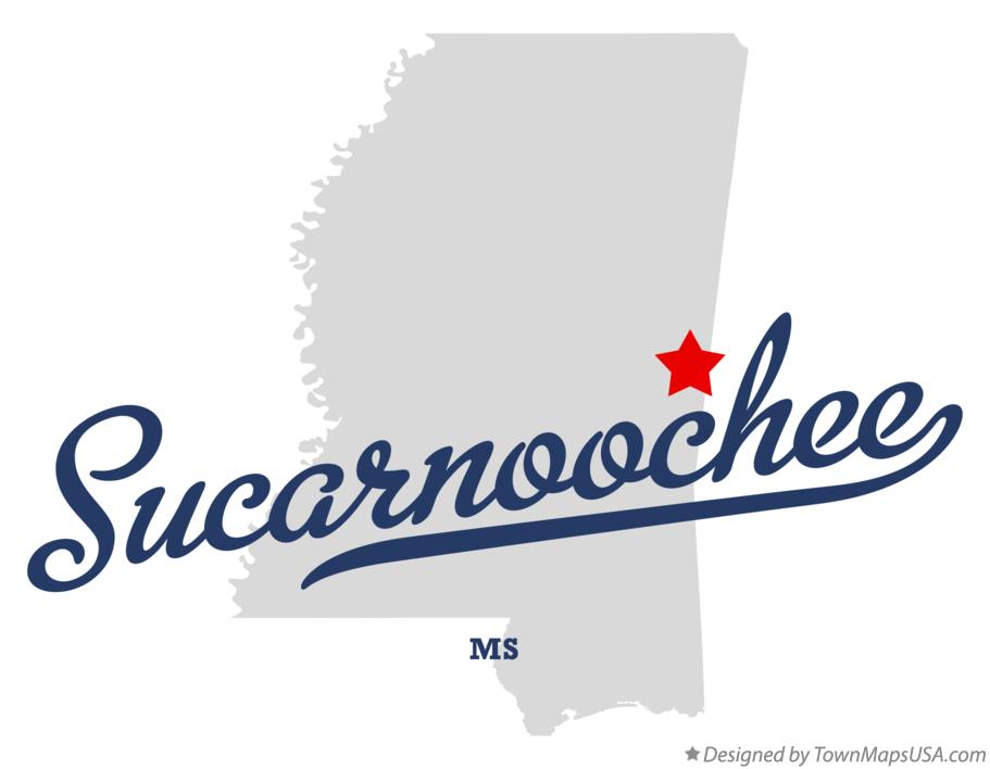 Map of Sucarnoochee Mississippi MS