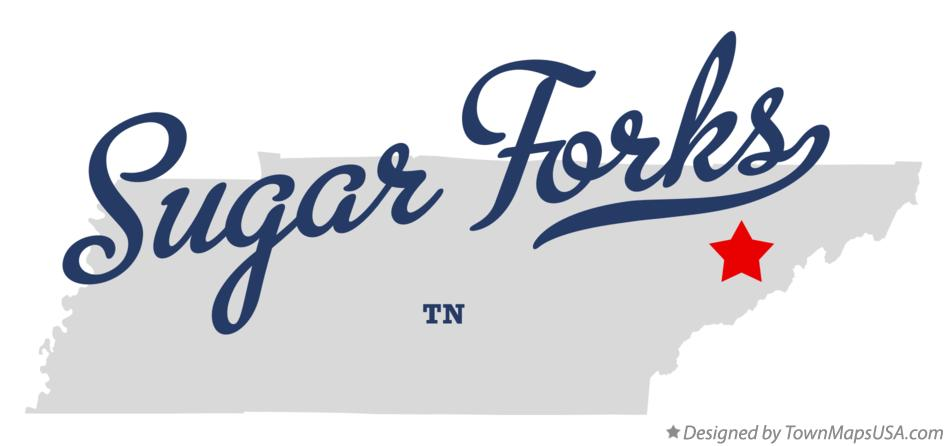 Map of Sugar Forks Tennessee TN