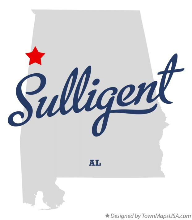 Map of Sulligent Alabama AL