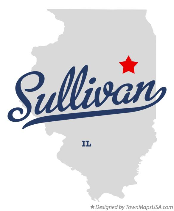 Map of Sullivan Illinois IL