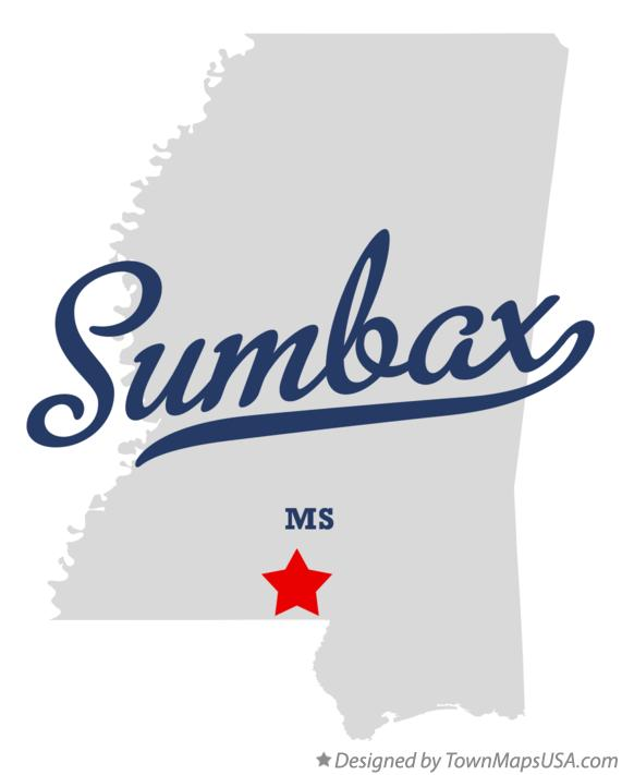 Map of Sumbax Mississippi MS