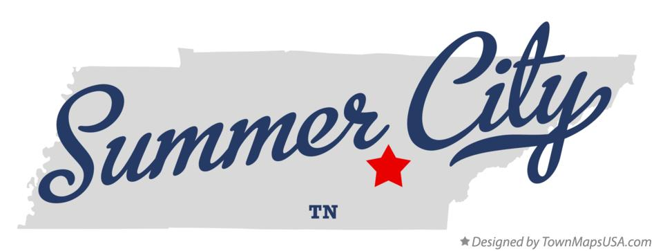 Map of Summer City Tennessee TN