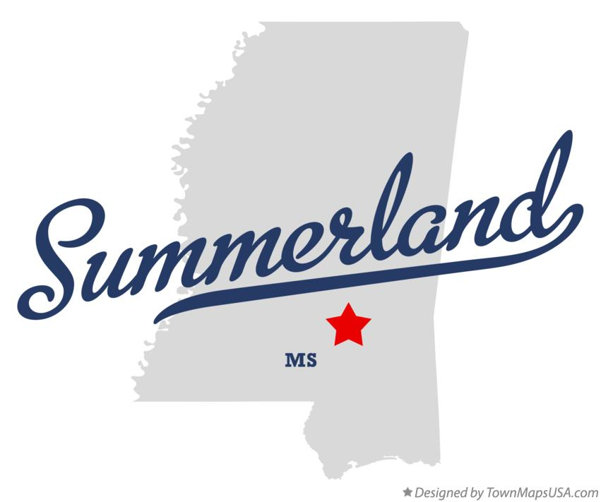 Map of Summerland Mississippi MS