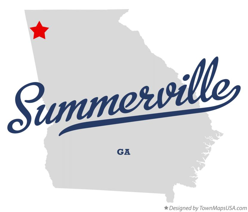 Map of Summerville Georgia GA