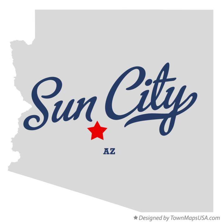 Map of Sun City Arizona AZ