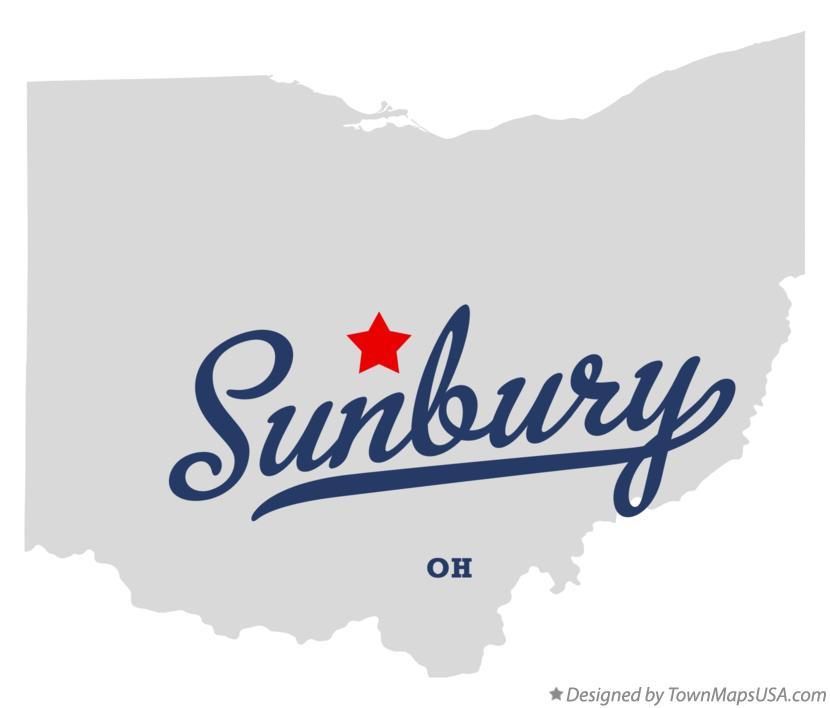 Map of Sunbury Delaware County OH Ohio