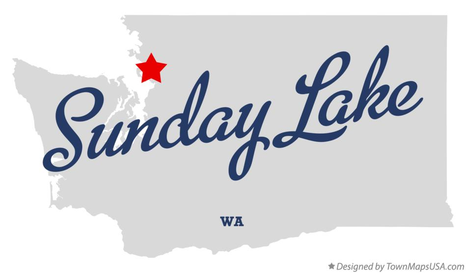 Map of Sunday Lake Washington WA