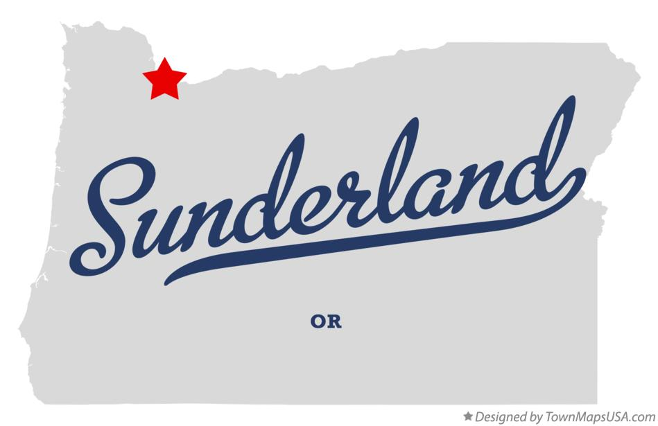 Map of Sunderland Oregon OR