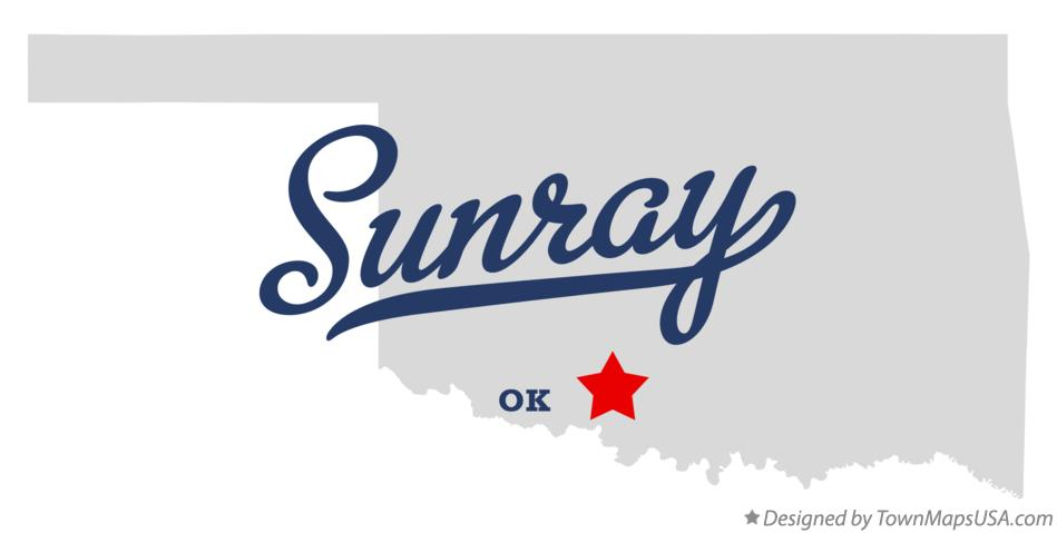 Map of Sunray Oklahoma OK