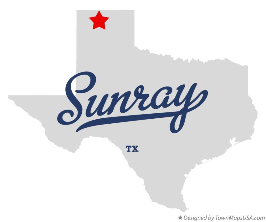 Map of Sunray Texas TX