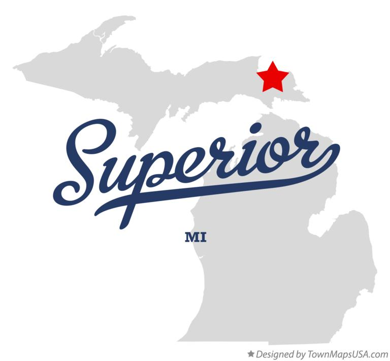 Map of Superior Michigan MI