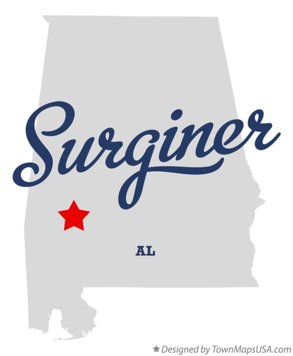 Map of Surginer Alabama AL