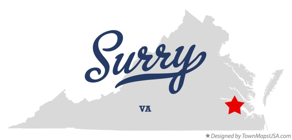 Map of Surry Virginia VA