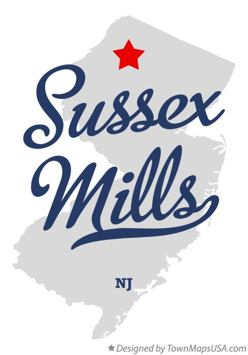 Map of Sussex Mills New Jersey NJ