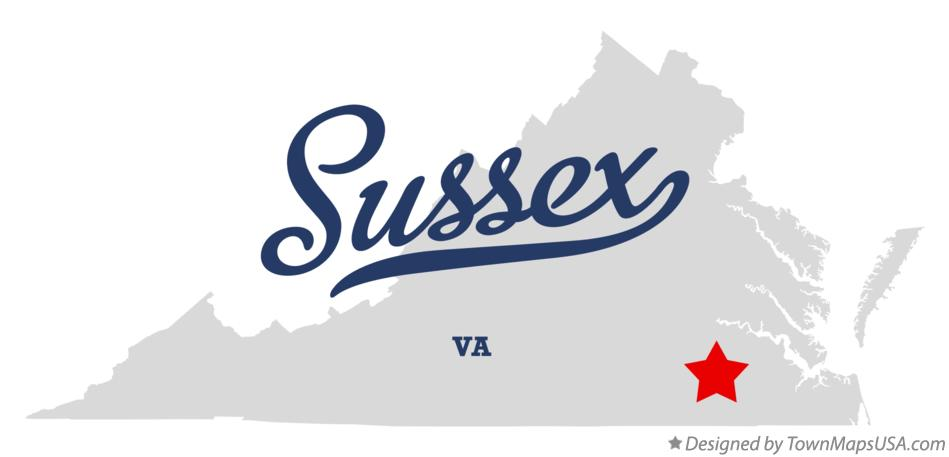 Map of Sussex Virginia VA
