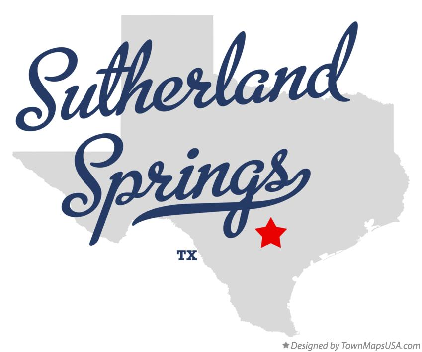 Map of Sutherland Springs Texas TX