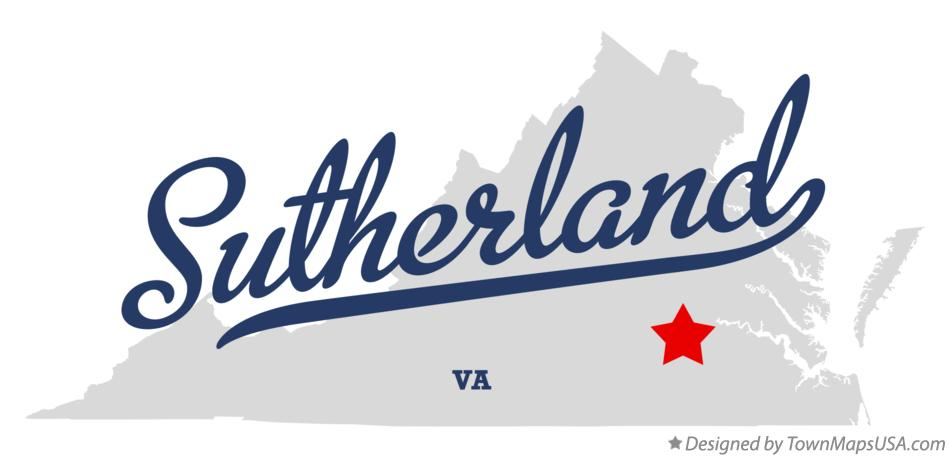 Map of Sutherland Virginia VA