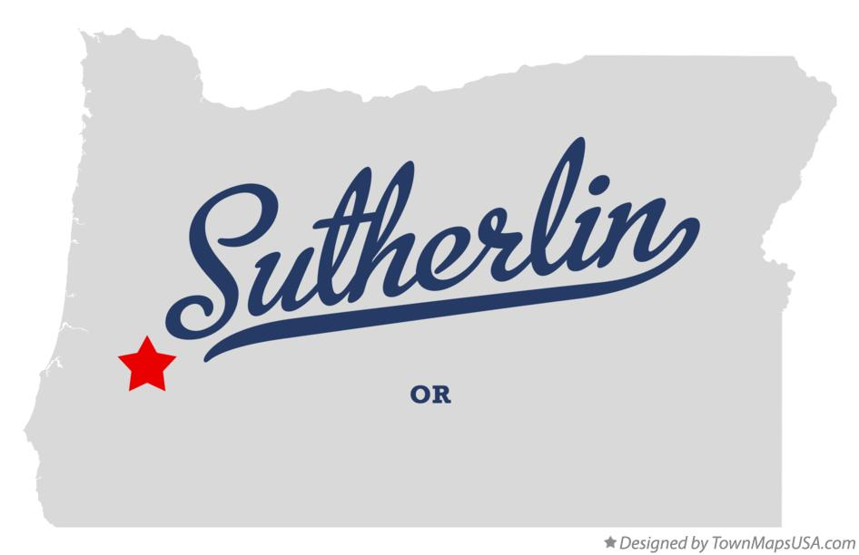 Map of Sutherlin Oregon OR
