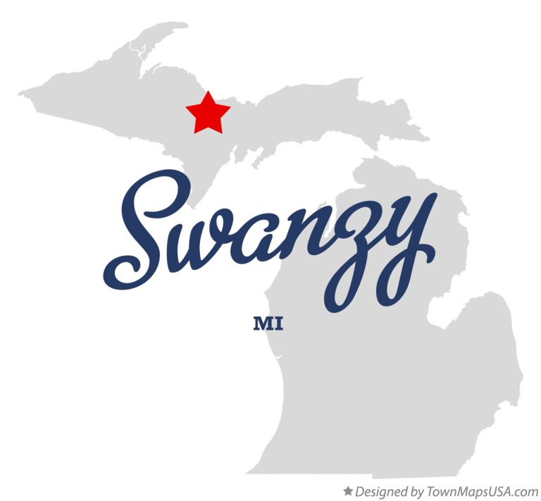 Map of Swanzy Michigan MI
