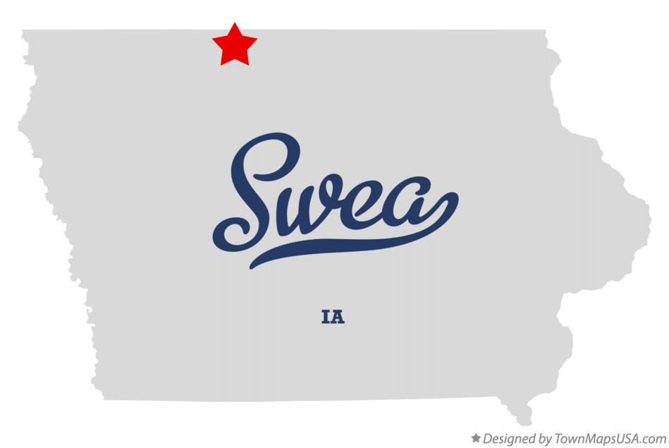 Map of Swea Iowa IA