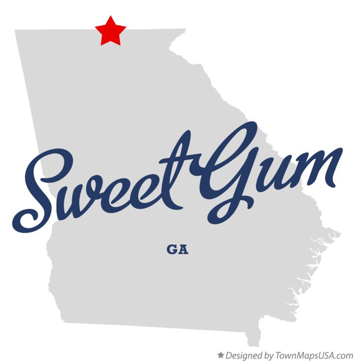 Map of Sweet Gum Georgia GA