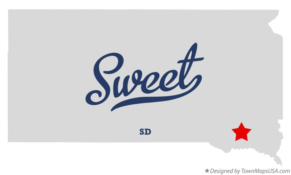 Map of Sweet South Dakota SD